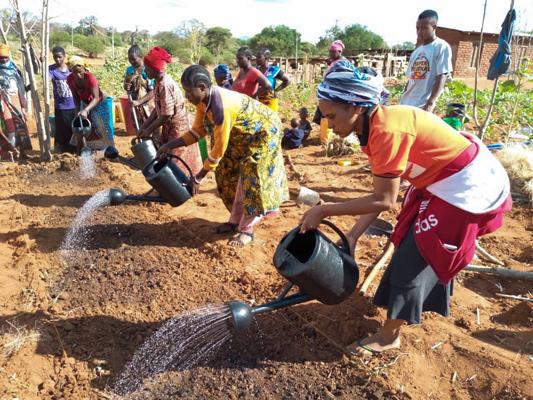 Frauen des DWABI Projekts bewässern ein Beet