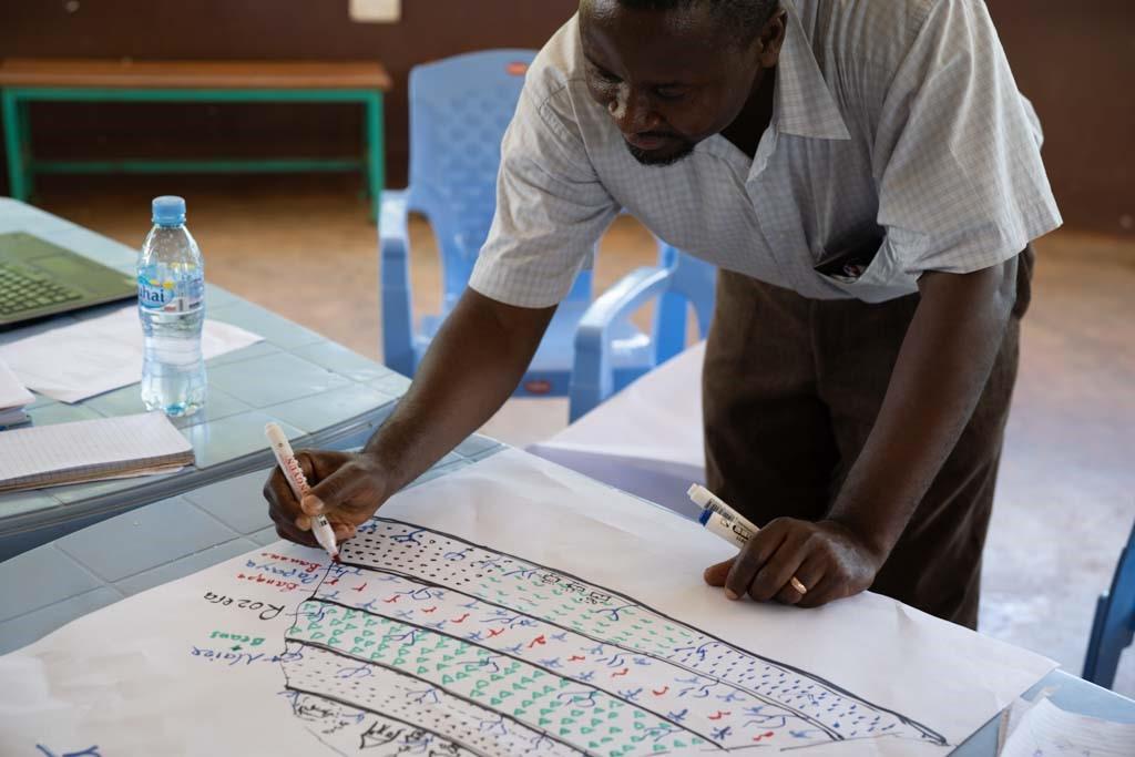 Ein Teilnehmer schreibt auf einem Plakat